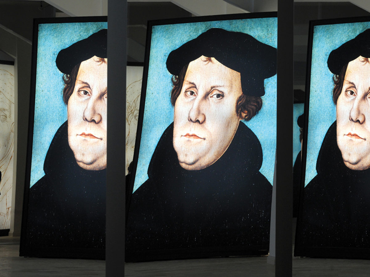 Images of Martin Luther at an exhibition in Halle, Germany, in 2008. Photo by picture alliance/ZB/Peter Endig