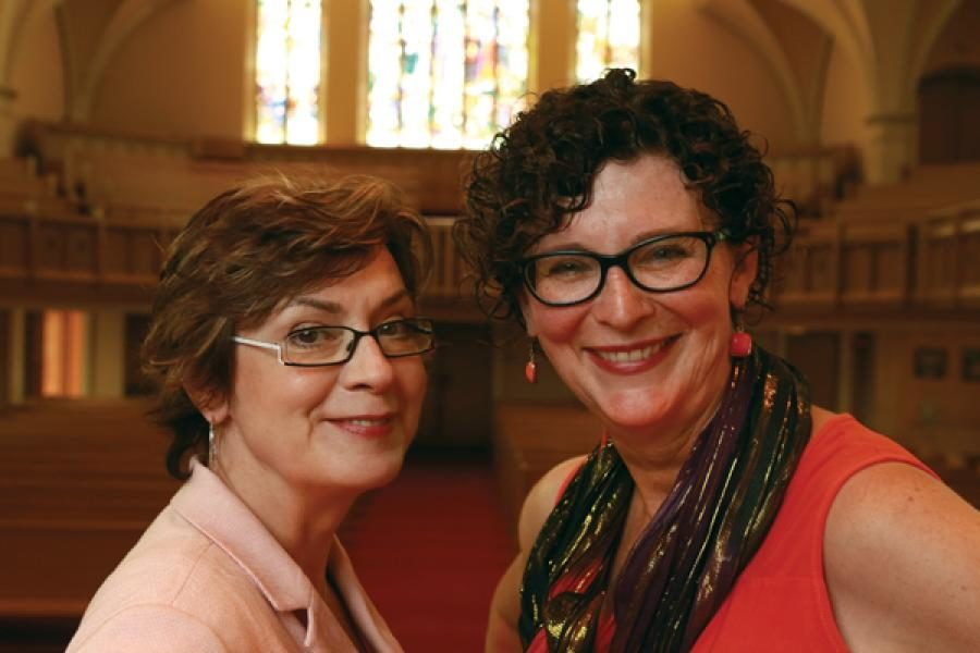 Gretta Vosper, minister of West Hill United in Toronto (left), and Connie denBok, minister of Alderwood United in Toronto. Photo by Hugh Wesley