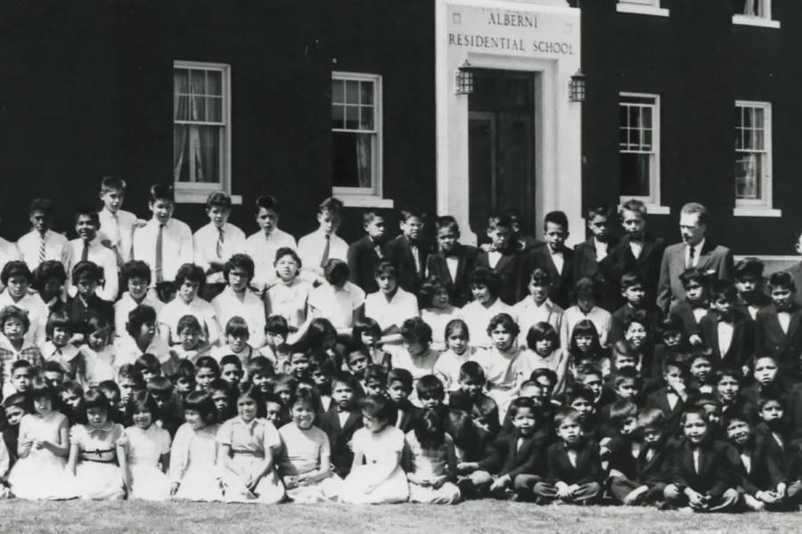 Alberni Indian Residential School, Grades 1 to 6, in 1960. Willie Blackwater joined their ranks in 1965. Archives of The United Church of Canada