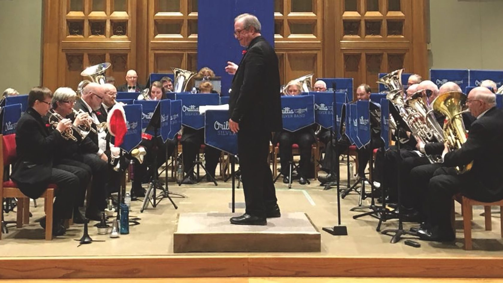 The Orillia Silver Band on stage at St. Paul's United in December 2017. (Photo courtesy St. Paul's United)