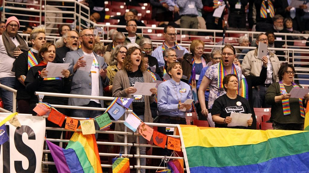 LGBTQ advocates react to the Traditional Plan being passed by the UMC General Conference on Feb. 26, 2019. (Photo: Kit Doyle/RNS)
