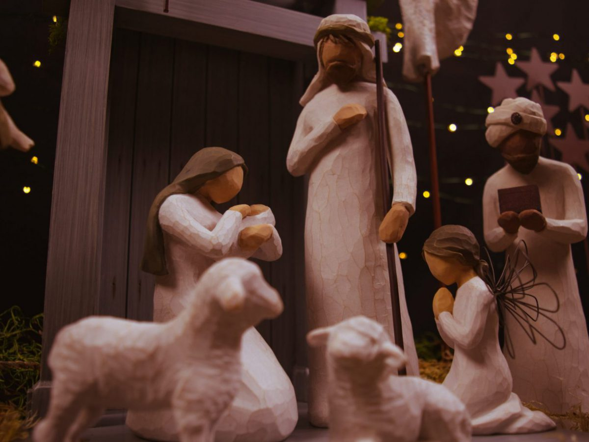 A nativity scene shows Jesus, Mary, Joseph